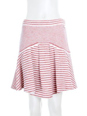 Striped trapeze skirt in pink and white by Chanel - Le Dressing Monaco