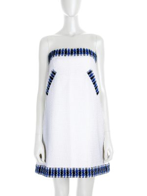 Mini Chanel Bustier Dress in white and blue - Le Dressing Monaco