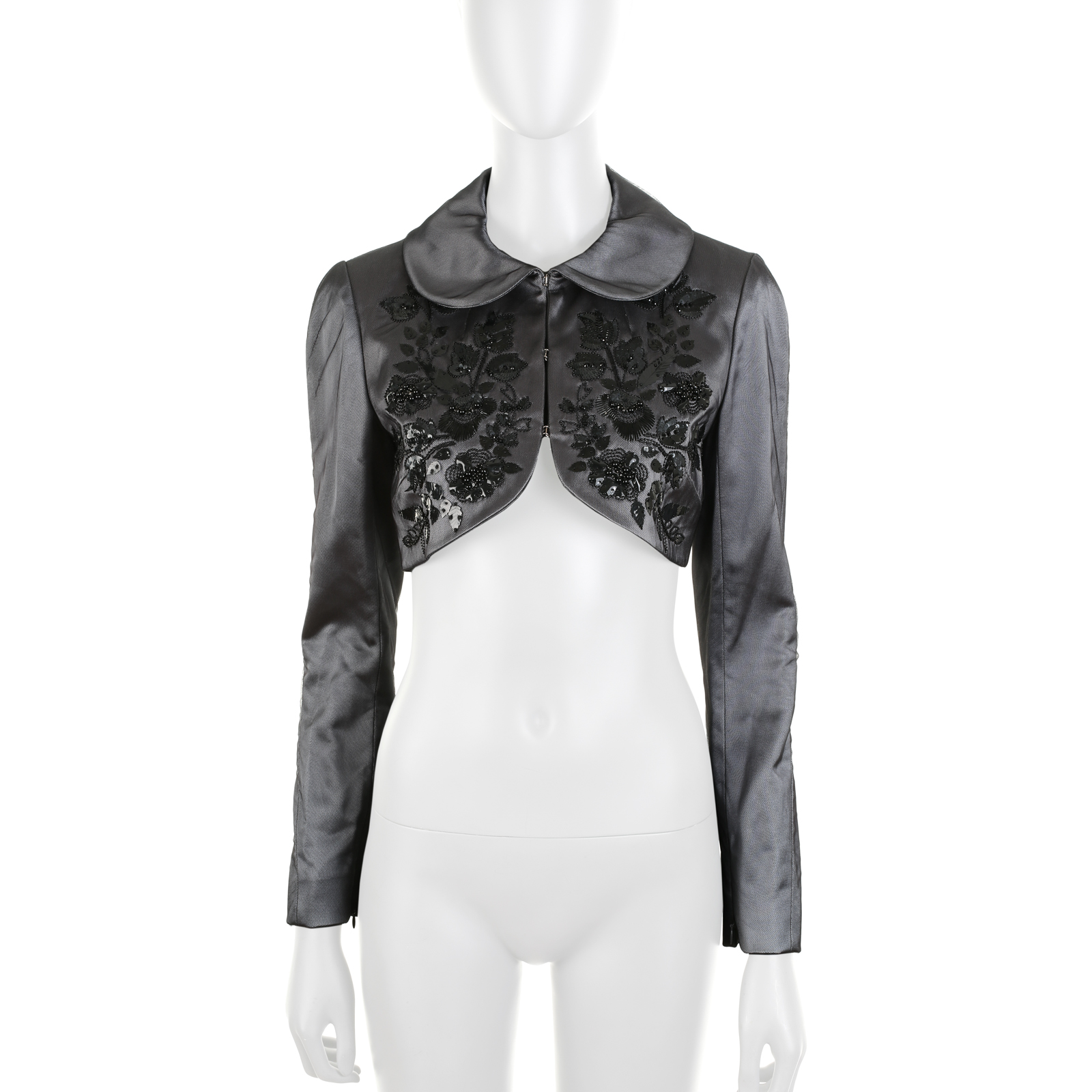 Grey Tulle Embroidered Flowers Bolero by Givenchy - Le Dressing Monaco