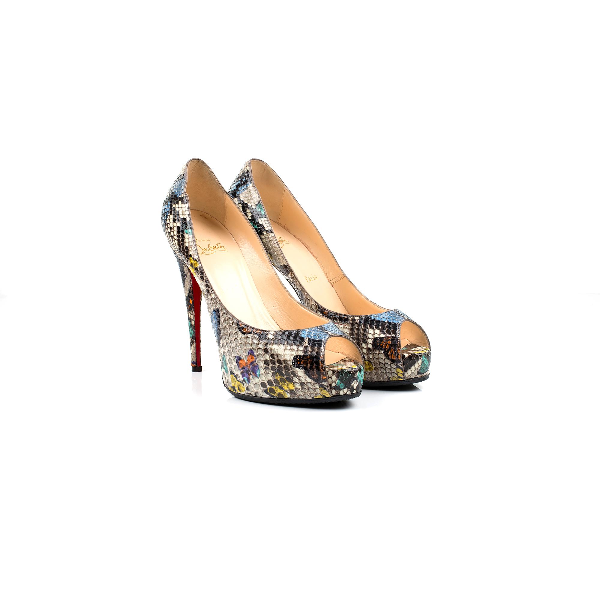 Peep Toe Python Platform Shoe by Louboutin - Le Dressing Monaco