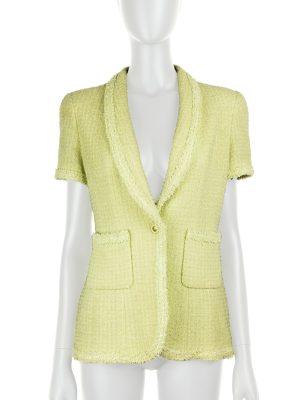 Almond Green Lurex Bouclé Jacket VINTAGE by Chanel - Le Dressing Monaco