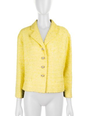 Yellow Bouclé Jacket with Strass Buttons by Chanel - Le Dressing Monaco