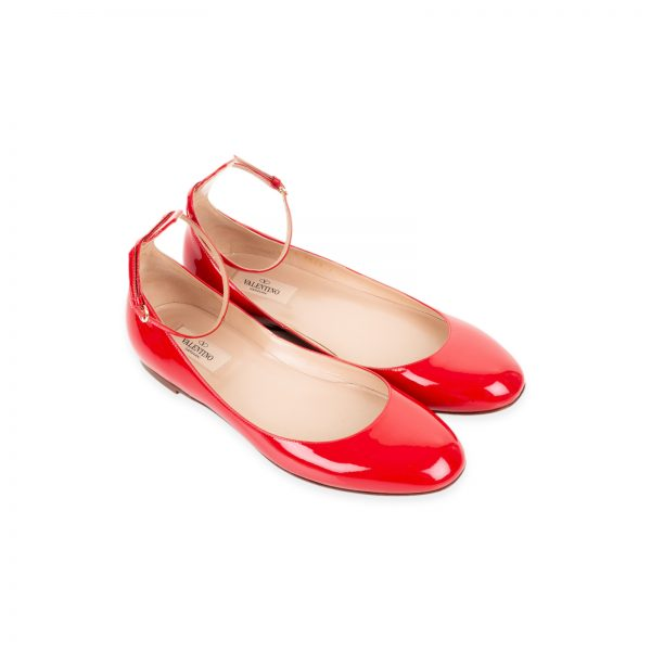 Patent Leather Ballerina Flats with Strap by Valentino - Le Dressing Monaco