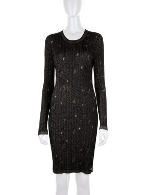Knitted Dress with Golden Destroyed Details - Le Dressing Monaco