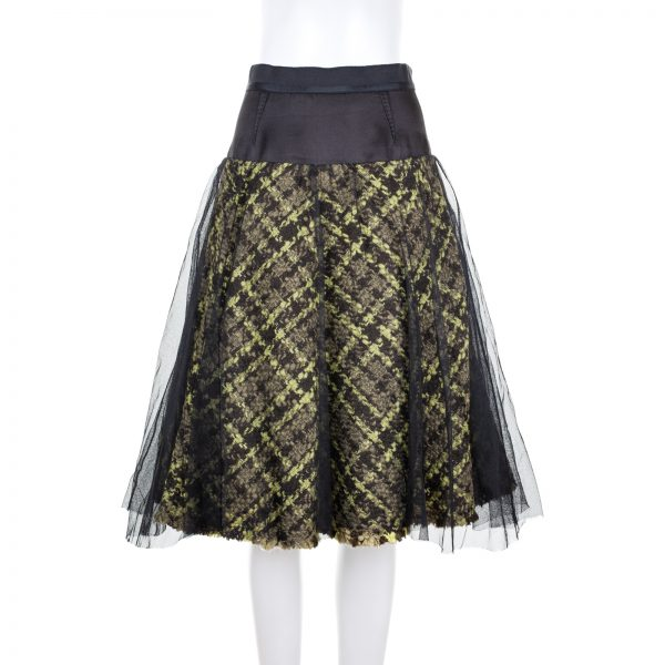 Green Tartan Knee Length Skirt With Tulle by Louis Vuitton - Le Dressing