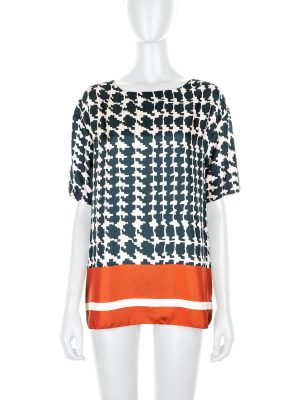 Printed Silk Pied de Poule Top by Marni - Le Dressing Monaco