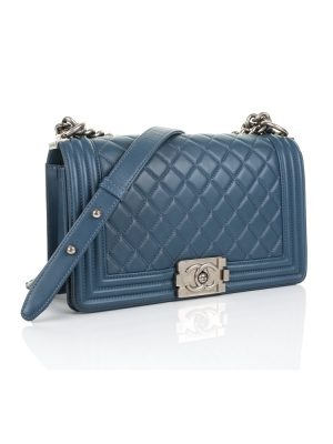 Blue Medium Boy Bag by Chanel - Le Dressing Monaco