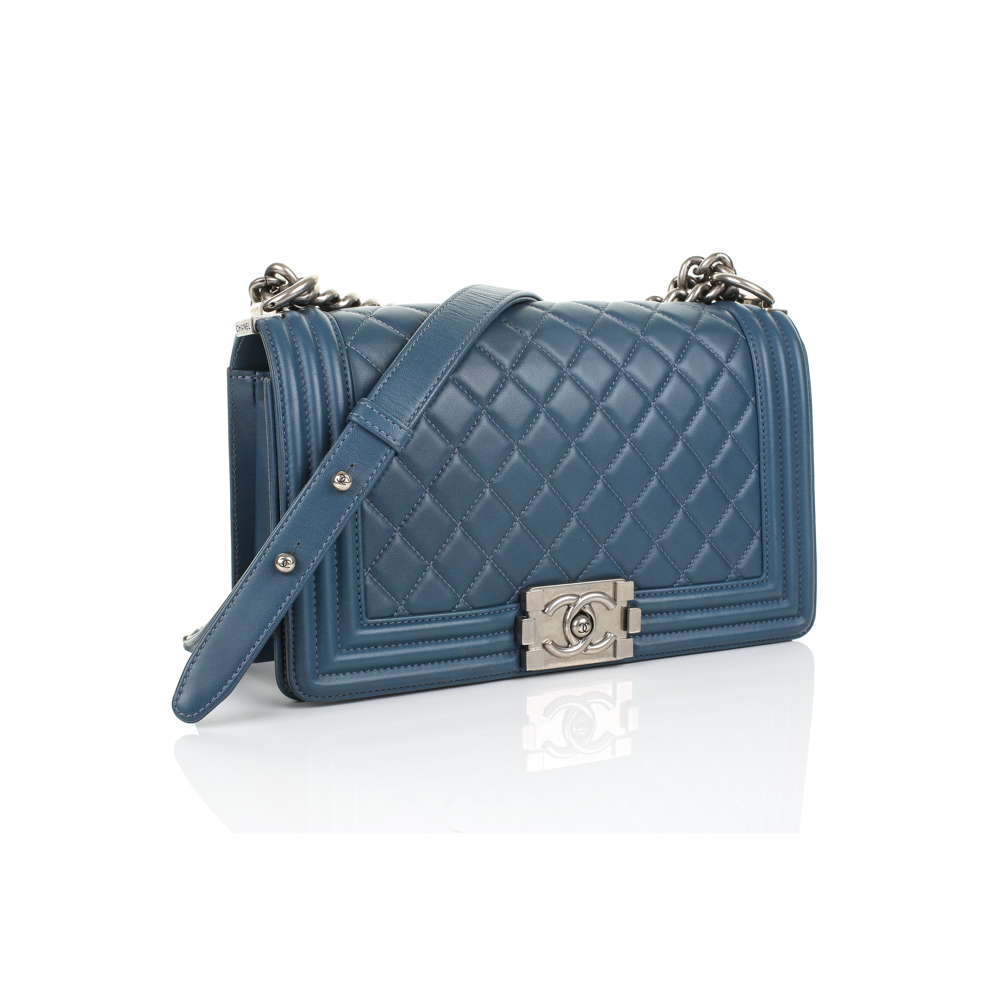 8a1a245ede15a6 Blue Medium Boy Bag by Chanel - Le Dressing Monaco