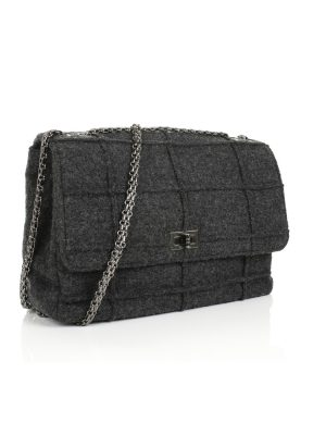 Grey Wool 2.55 Flap Bag by Chanel - Le Dressing Monaco