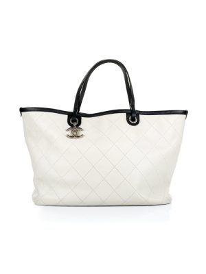 White Caviar Leather Shopper Handbag by Chanel - Le Dressing Monaco