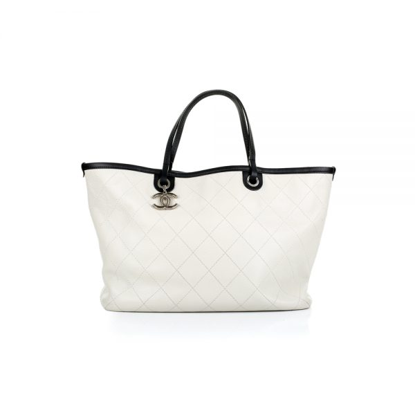 White Caviar Leather Shopper Handbag by Chanel - Le Dressing Monaco