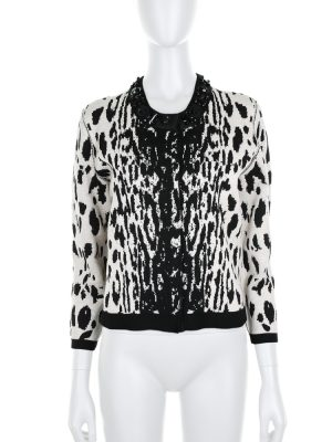 Black and White Patterned Cardigan by Lanvin - Le Dressing Monaco