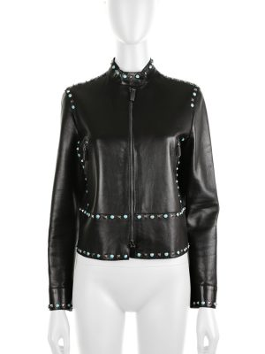 Rockstud Turquoise Leather Jacket by Valentino - Le Dressing Monaco