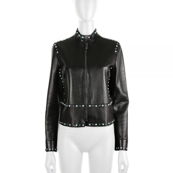 Rockstud Turquoise Leather Jacket by Valentino - Le Dressing Monaco