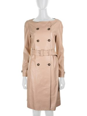 Nude Leather Trench Dress by Prada - Le Dressing Monaco