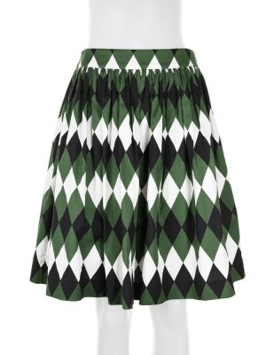 Diamond Bell Skirt in Green and White by Prada - Le Dressing Monaco