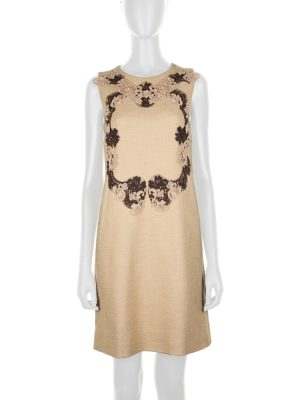 Linen Dress With Lace Detail by Dolce e Gabbana - Le Dressing Monaco