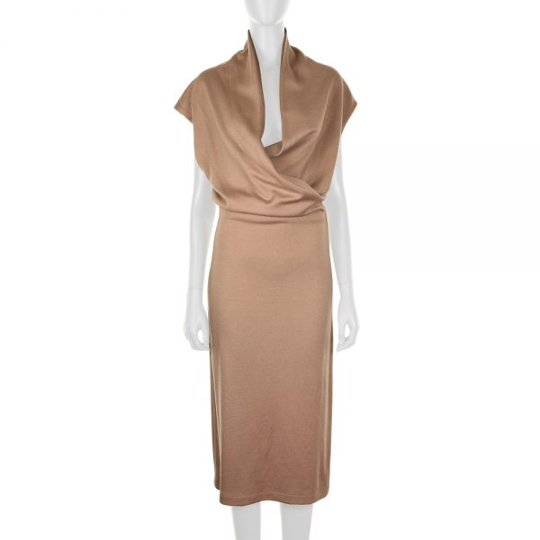 Drapped Collar Wool Blend Knitted Dress by Bottega Veneta - Le Dressing MC