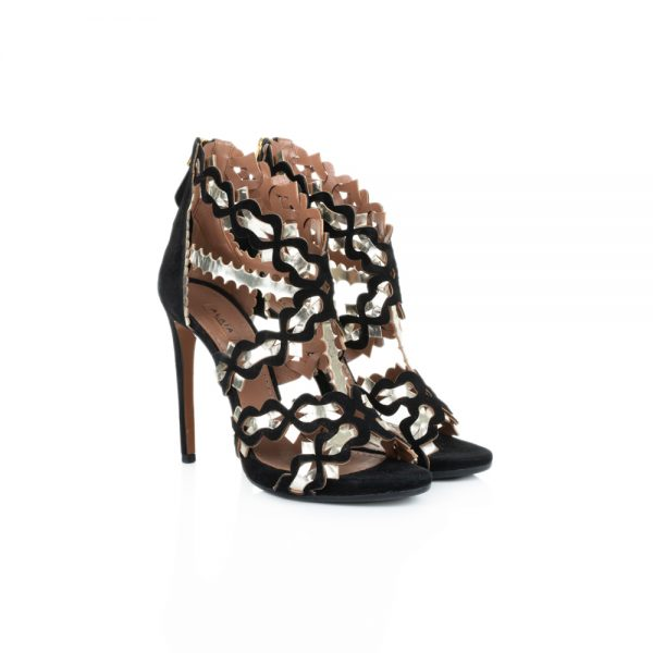 Laser Cut Black and Gold Ankle Sandals by Alaia - Le Dressing Monaco