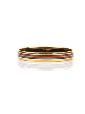 Narrow Bracelet in Printed Enamel Geometric by Hermes - Le Dressing Monaco