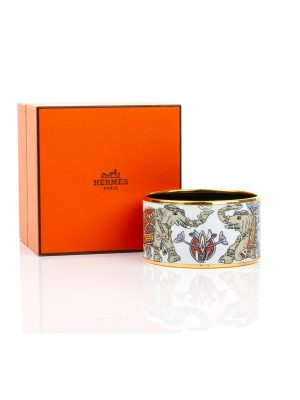 Gold Printed Enamel Elephants Pattern Bracelet by Hermes - Le Dressing Monaco