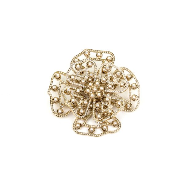 Flower Brooch with Crystals and Pearls by Valentino - Le Dressing Monaco
