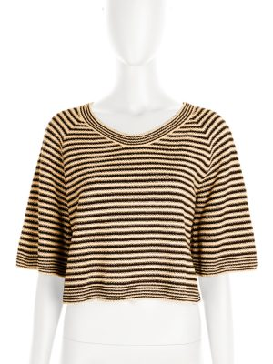 Beige and Black Striped three quarter top by Chanel - Le Dressing Monaco