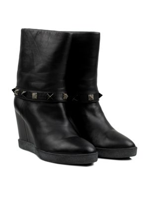 Black Leather Ankle Boots With Strass Studs by Le Silla - Le Dressing Monaco