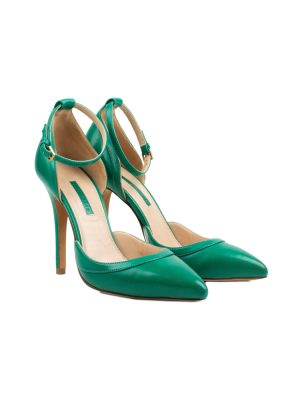 Green Leather Ankle Straped Pumps by Elie Saab - Le Dressing Monaco