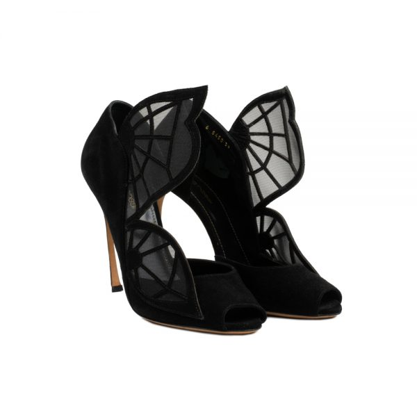 Black Butterfly Peep Toe Pumps by Sergio Rossi - Le Dressing Monaco
