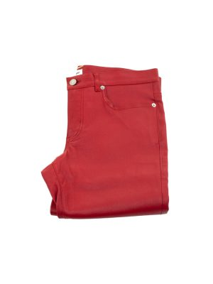 Low Waist Red Slim Leather Pants by Saint Laurent - Le Dressing Monaco