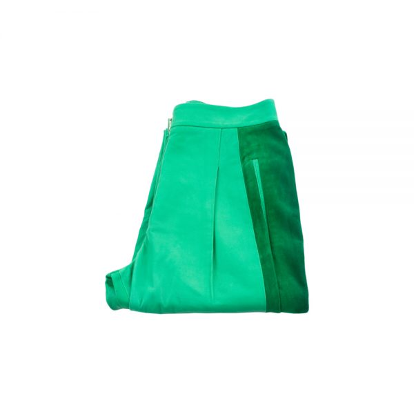 High Waist Green Leather Pants by Barbara Bui - Le Dressing Monaco