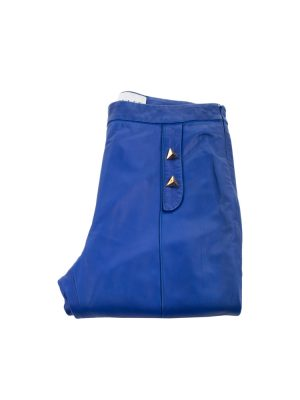 Electric Blue Leather Pants by Vionnet - Le Dressing Monaco