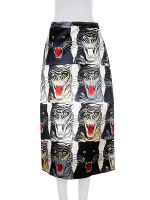 Long Tiger Printed Silk Skirt by Gucci - Le Dressing Monaco