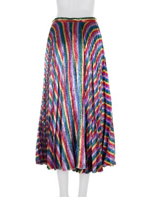 Pleated Rainbow Silk Metallic Skirt by Gucci - Le Dressing Monaco