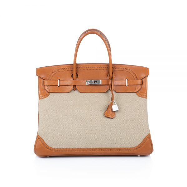 Birkin 40 Ghillies Barenia and Canvas Fauve