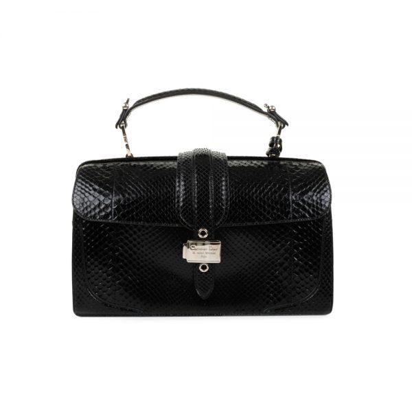 Black Python Doctor Style Handbag by Christian Dior