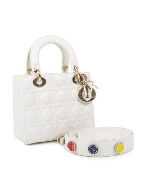 White Lady Dior Handbag With Strap by Christian Dior