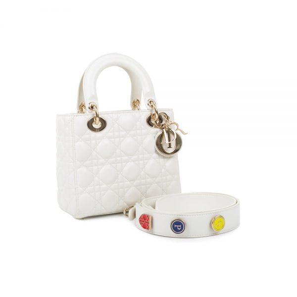 White Lady Dior Handbag With Strap by Christian Dior