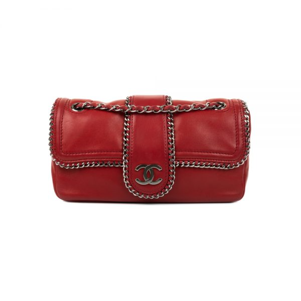 Red Leather Flap Bag With Ornamental Chains