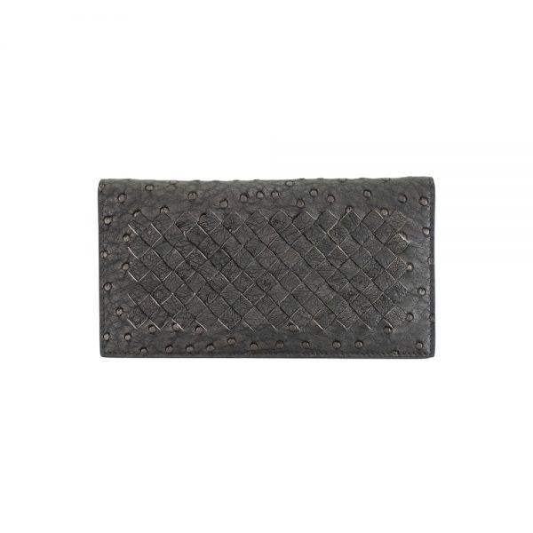 Grey Ostrich Leather Wallet by Bottega Veneta Le Dressing Monaco