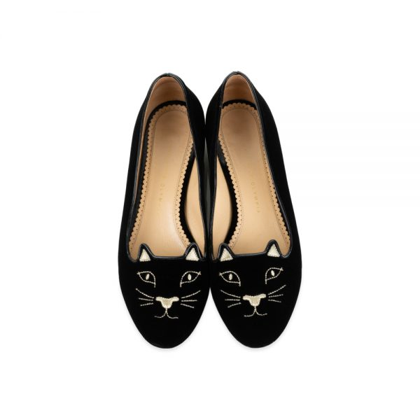 Black Velvet Cat Face Loafers by Charlotte Olympia - Le Dressing Monaco