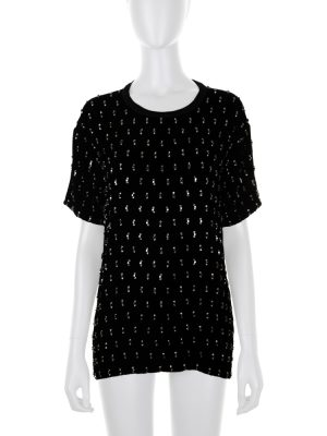 Velvet Tee-Shirt With Embroidered Stones by Lanvin - Le Dressing Monaco