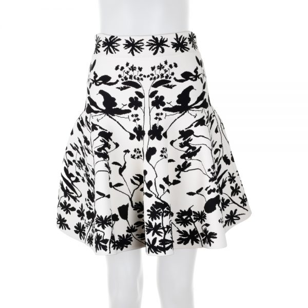Black and White Naive Jacquard Skirt by Alexander McQueen - Le Dressing Monaco
