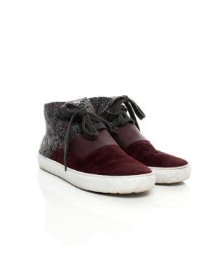 Burgundy Suede Grey Tweed Sneakers by Chanel - Le Dressing Monaco