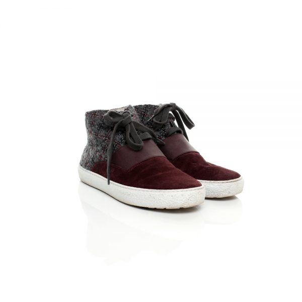 Grey and Burgundy Tweed Trainers by Chanel - Le Dressing Monaco
