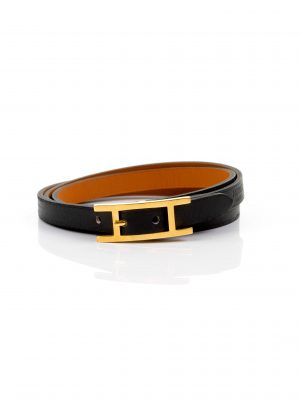 Black Hapi Leather Bracelet by Hermès Le Dressing Monaco