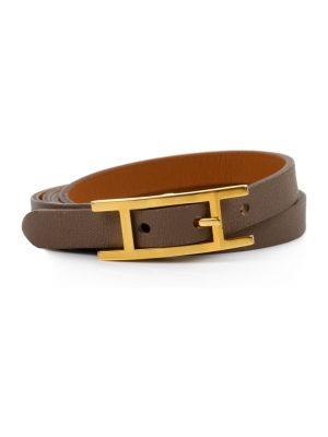 Etoupe Hapi Leather Bracelet by Hermès at Le Dressing Monaco