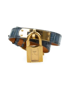 Kelly Watch Double Strap Alligator Brighton Blue by Hermès at Le Dressing Monaco