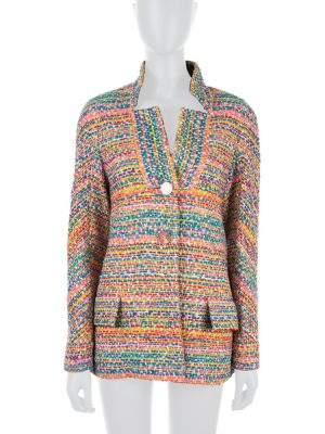 Woven Tweed Rainbow Redingote by Chanel - Le Dressing Monaco